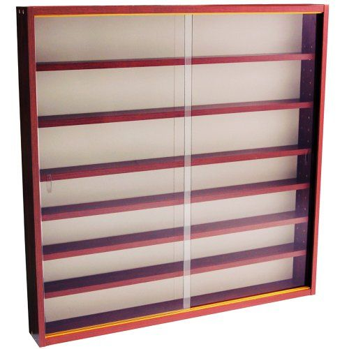 Reveal 6 Shelf Gl Wall Collectors Display Cabinet Mahogany