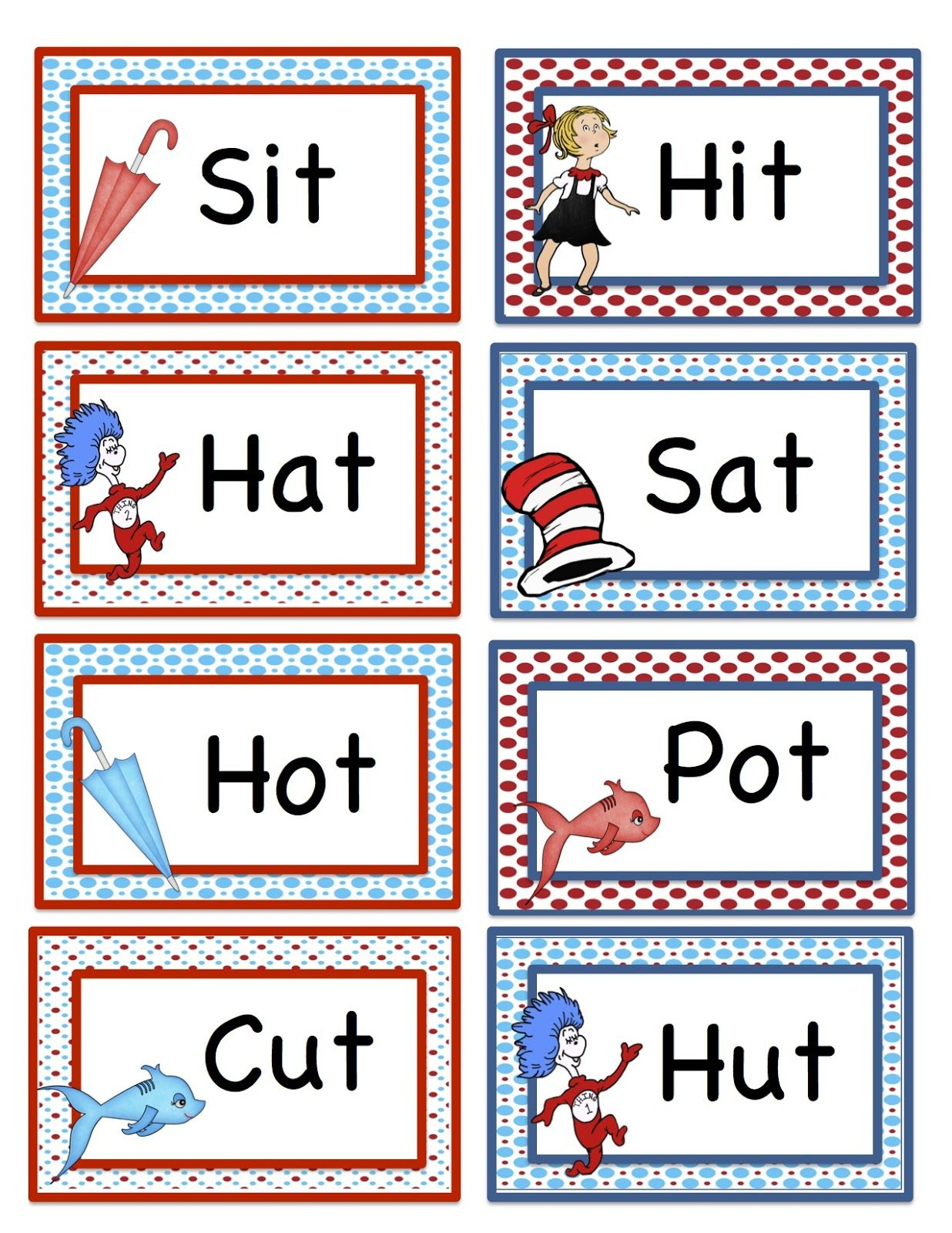 Preschool Printables Seuss Rhyming Words Printable 2