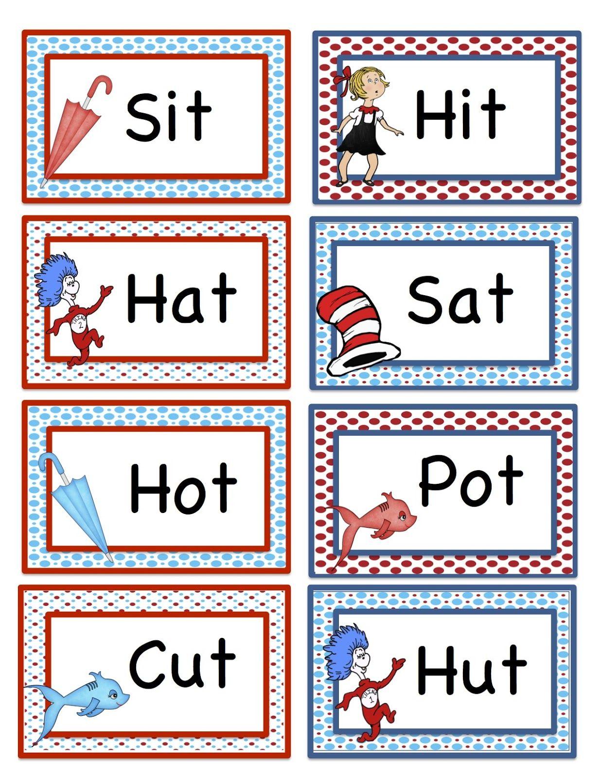 Preschool Printables: Seuss Rhyming Words Printable 2 | Fun for the ...
