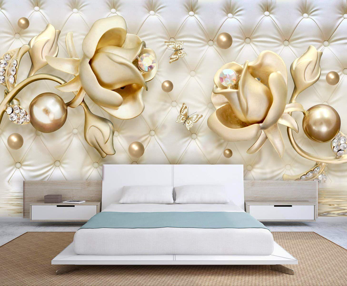3d Golden Roses And Butterflies Wallpaper Design Living