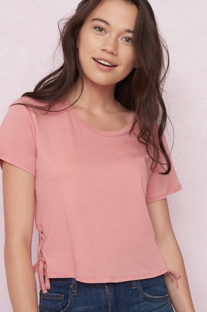 Midi Tee With Lace Up Sides Garage Clothing Fashion