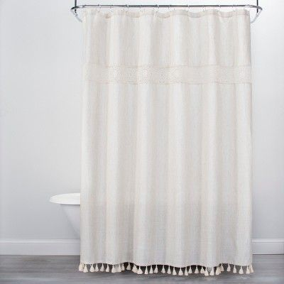 Solid Crochet With Tassels Shower Curtain Tan Opalhouse White Shower Curtain Shower Curtain Curtains
