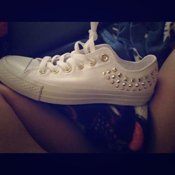 White gold studded Converse AllStar