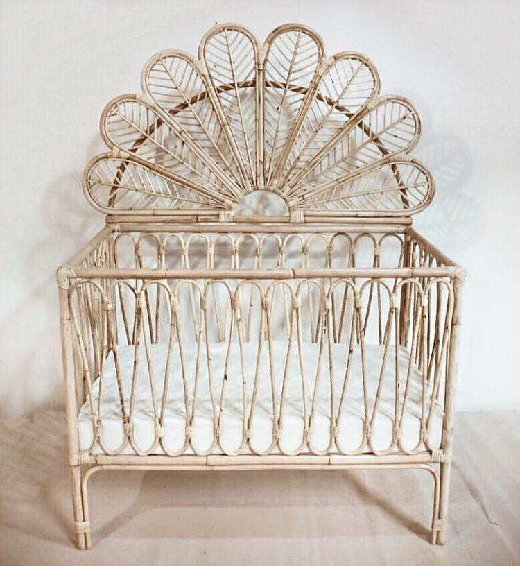 Boho Crib Baby Girl Bed Girl S Nursery Boho Nursery Theme Eclectic Nursery Rattan Crib Baby Bed Baby Cot Baby Bedroom