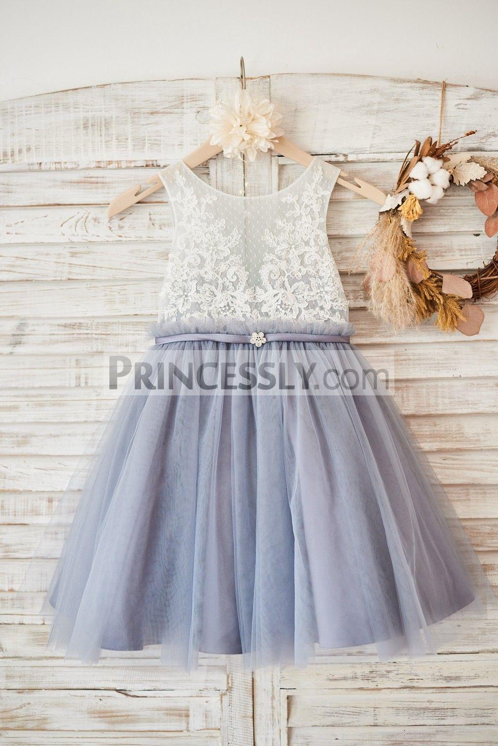 Princessly K1003580 Ivory Lace Dusty Blue Tulle Sheer Back Wedding Flower Dress With Belt 31