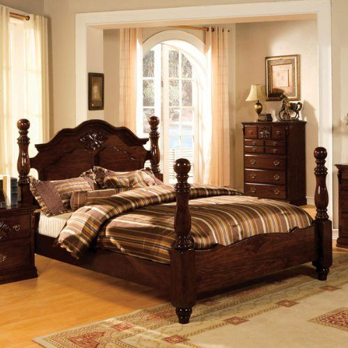 Amazon.com: Tuscan Colonial Style Dark Pine Queen Size Bed: Kitchen U0026 Dining