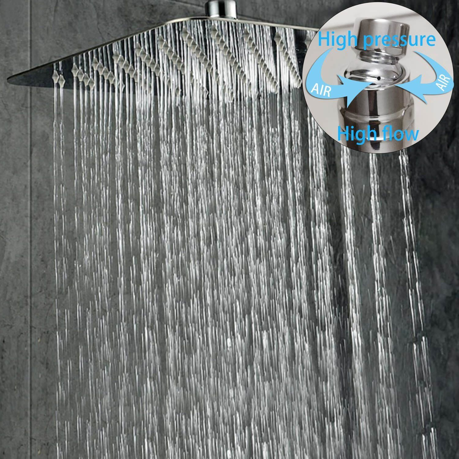 Rain Mixer Shower Combo Set Wall Mounted Polished Chrome Contain