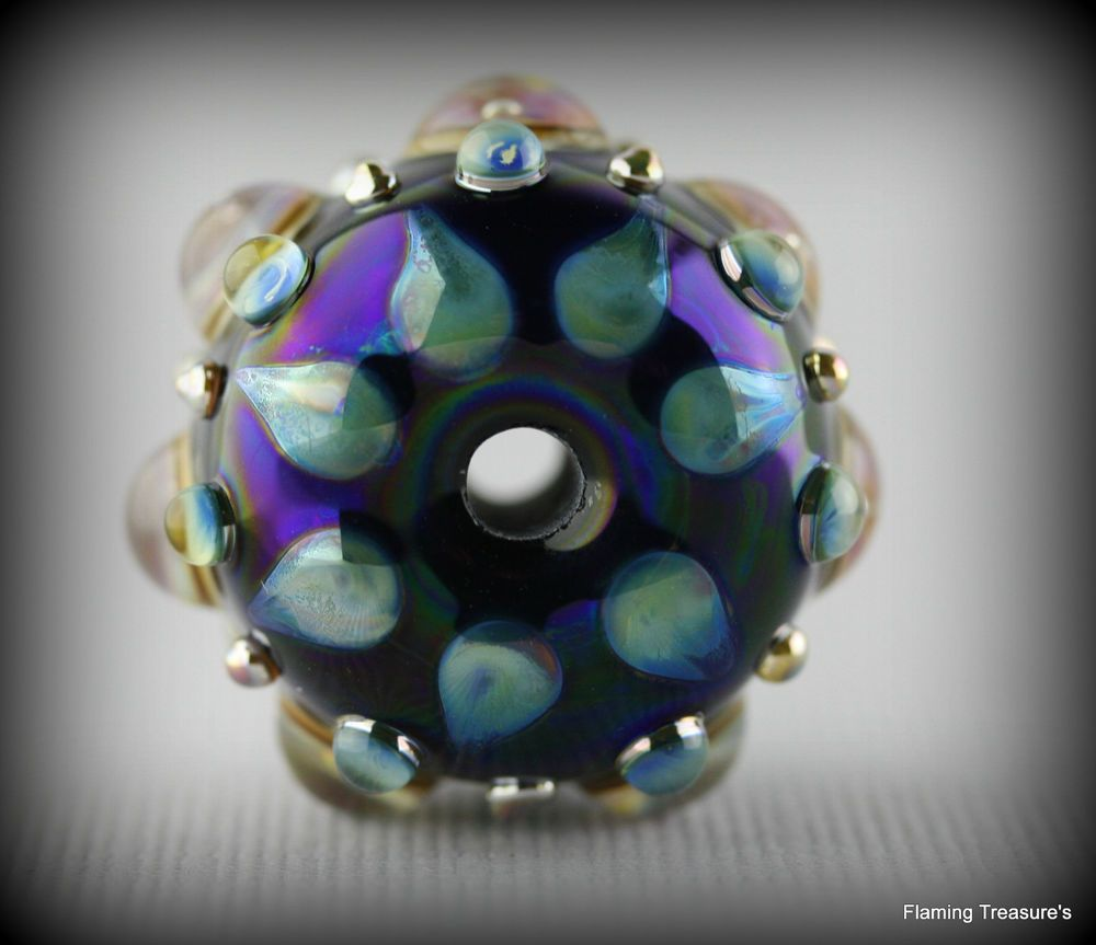 Flaming Treasure's Fancy Gem~ Focal~Handmade~Lampwork Bead~SRA~USA #Handmadeglassbeads #Lampwork