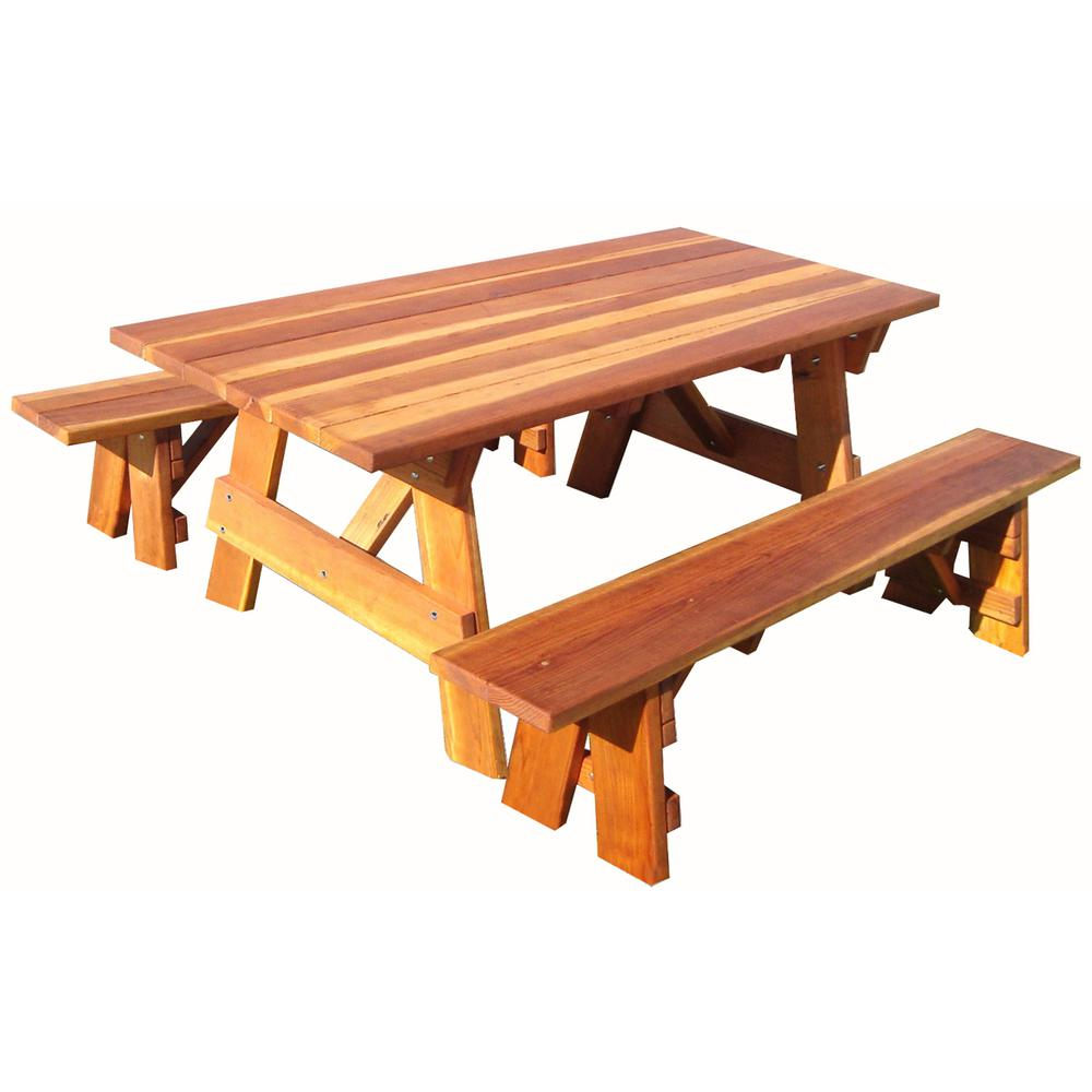 Rtmex Outdoor 1905 Super Deck 4ft Redwood Picnic Table With
