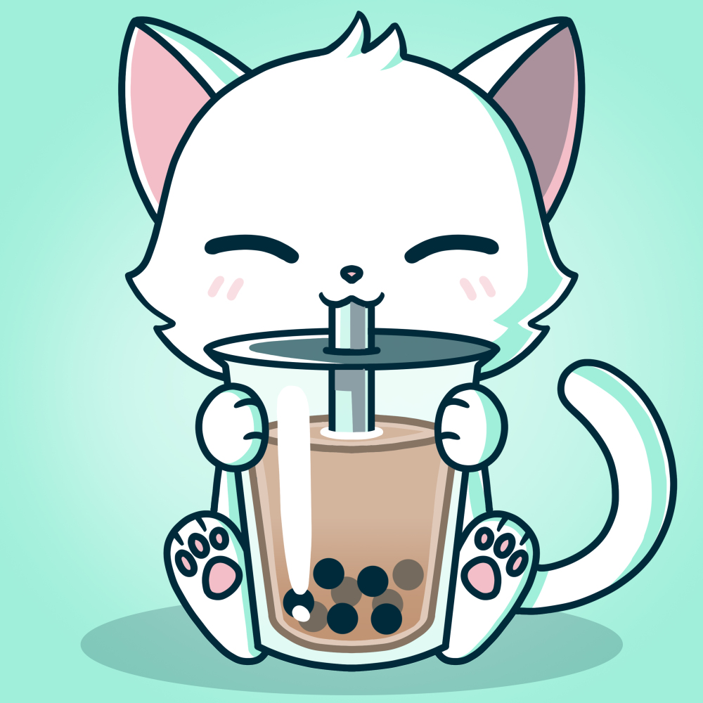 Boba Cat TShirt Mens M Cute animal drawings kawaii