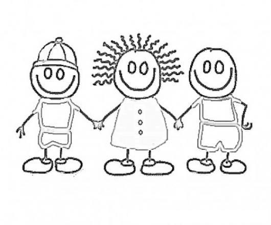 Dibujo De 3 Ninos Amigos Tomados De Las Manos Para Pintar Y Colorear