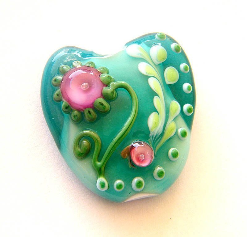 Fresh Love - Valentine's Day heart focal bead .handmade Lampwork focal bead / pendant by binduglass. $35.00, via Etsy.