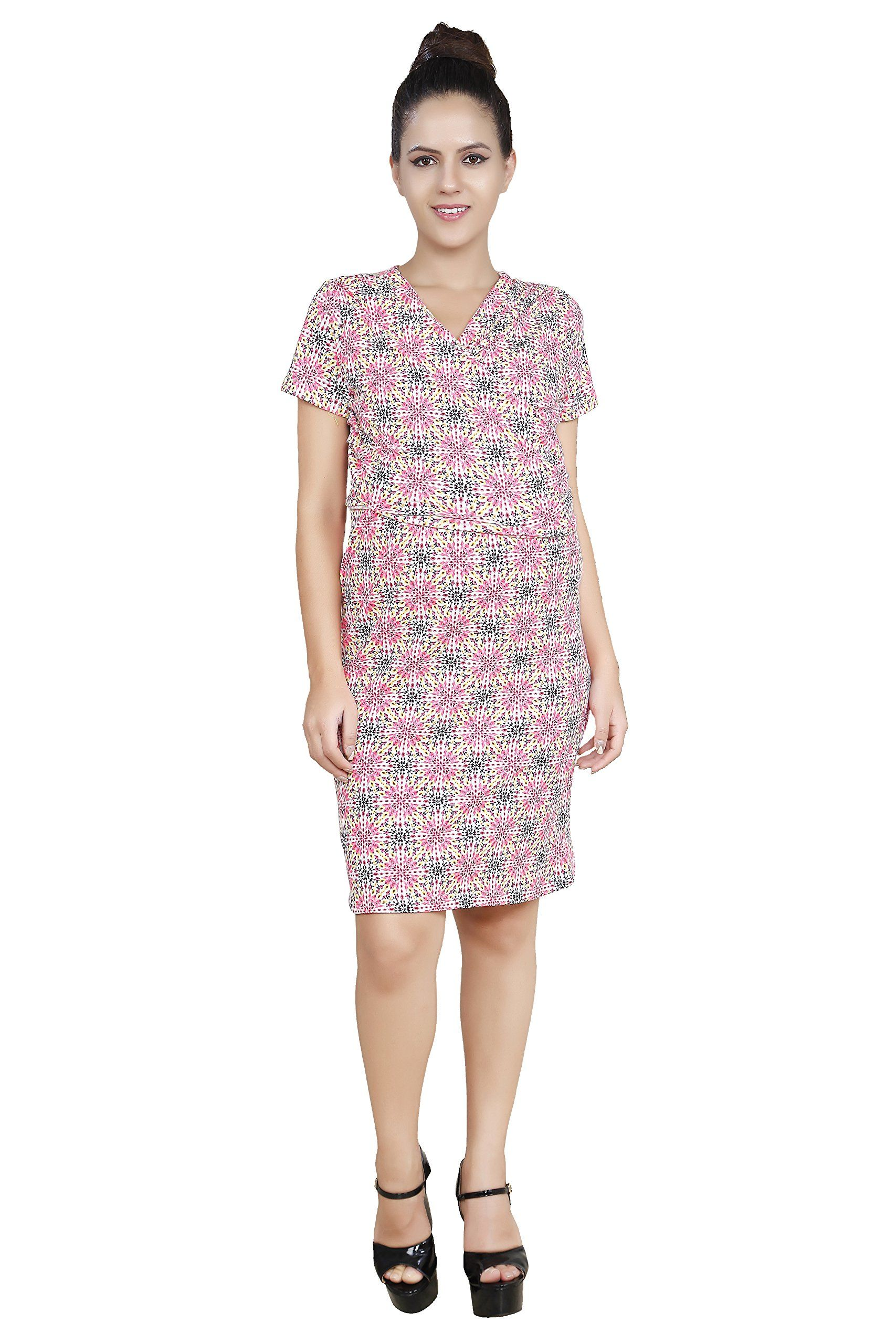 e5a1f573e78 Maternity Fashion - oversized maternity dresses   Blush 9 Womens  Overlapping Knee Length Maternity And Nursing Dress Large WhitePink      Learn more about ...