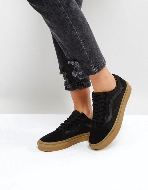 e0615008d2 Vans Suede Old Skool Trainers In Black With Gum Sole