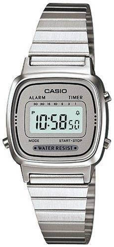6d10333a511 Casio  LA670WA-7 Women s Metal Band Countdown Timer Alarm LCD Digital Watch  (Grey)