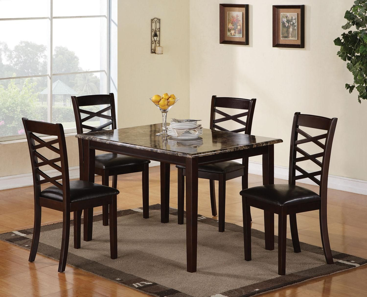 The Bentley 5pc Faux Marble Dining Set