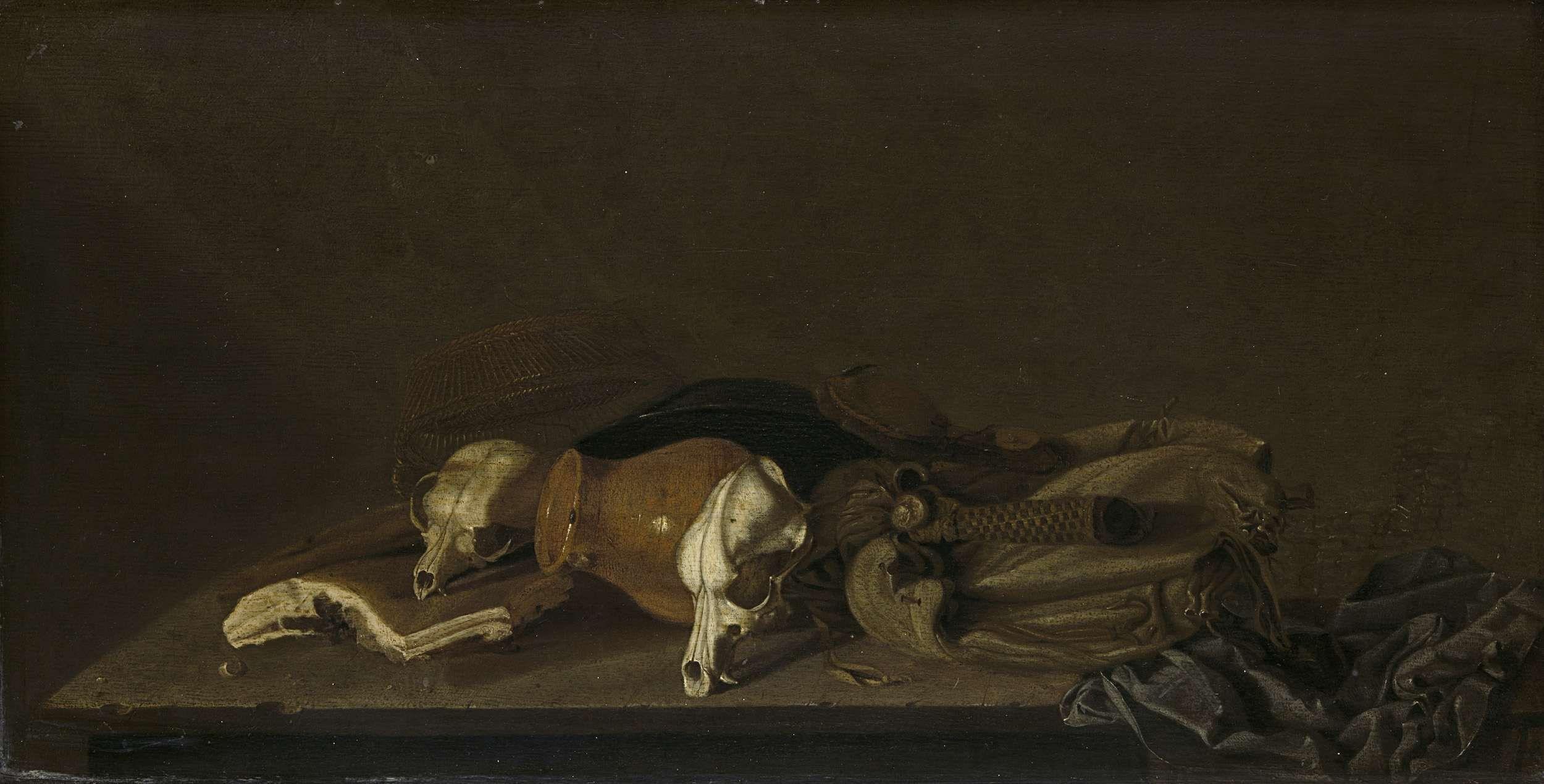 Anonymous   Still Life with Suckling-Pig Skulls, Anonymous, 1620 - 1640   Stilleven met enkele schedeltjes van speenvarkens, een rood aardewerken kan, een jachttas, een zwarte pan, enkele lappen en een mandje.