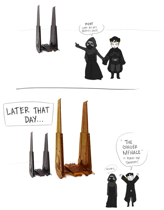 … I love to think that Kylo grabs Hux's sleeve when he's excited.