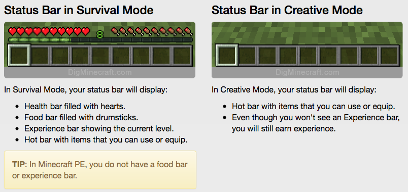 Health Food And Experience Explained In Minecraft And