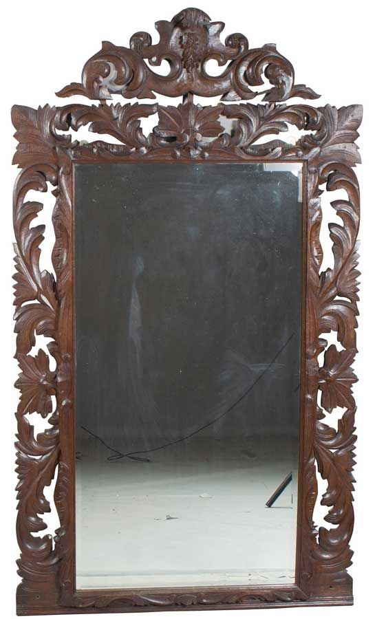 Carved Antique Mirror Wall, Antique Wooden Frame Mirror