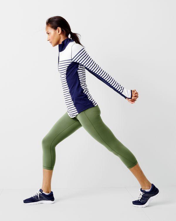 the best attitude 159dd e86cd New Balance for J.Crew in-transit pullover in stripe, performance capri  leggings and 711 mesh sneakers.