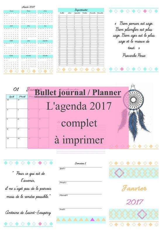 agenda 2017 a imprimer gratuitement 2 organisation pinterest agenda organisation et bullet. Black Bedroom Furniture Sets. Home Design Ideas