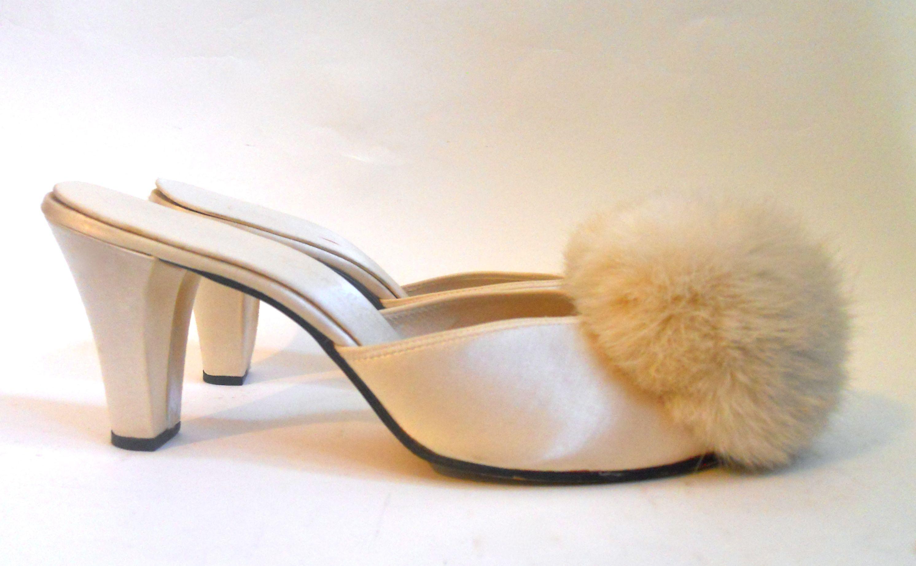 1950s Soft White Satin Daniel Green Boudoir Slippers With