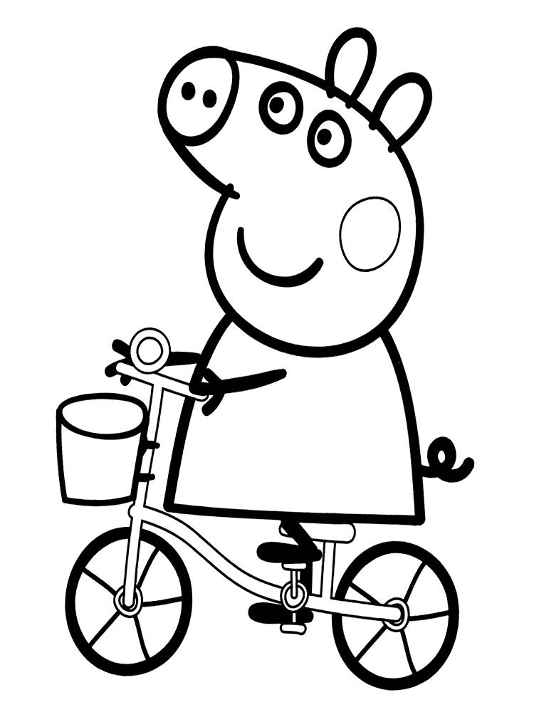 dibujo-para-colorear-de-peppa-pig-en-bicicleta | for sister ...