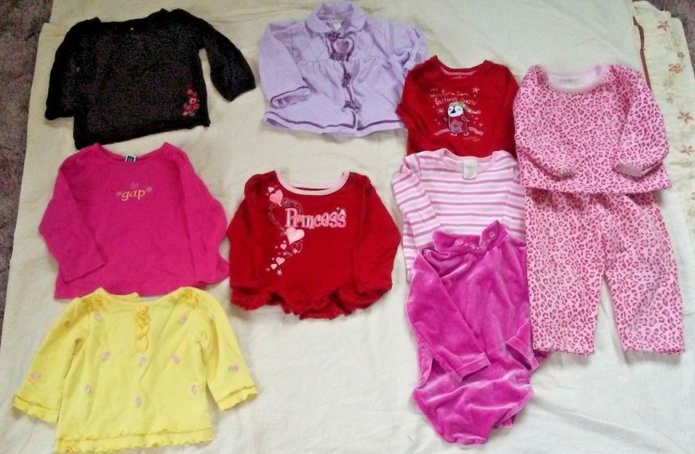 Lot Of 10 Baby Girl Clothes Long Sleeve Shirts Bodysuits Outfit Size