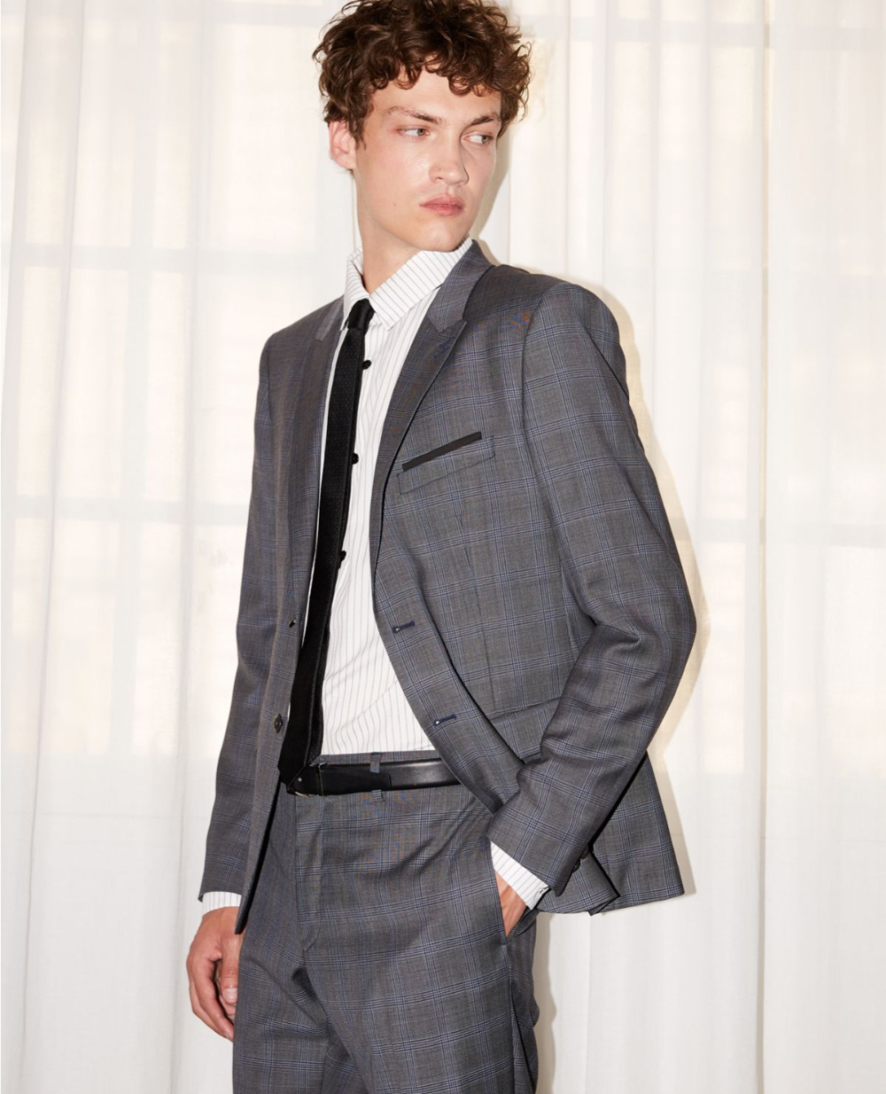 Gray Prince-of-Wales wool formal jacket #newyearseveoutfits
