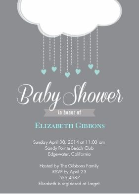 Baby Shower Invitations Invites Snapfish Imagining The White Clouds Made Out Of Tissue Paper With Some Hanging Circles