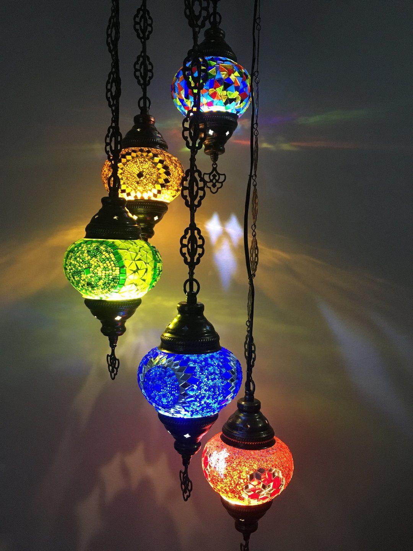5 BALL TURKISH MOSAIC  CHANDELIER LAMP MIX