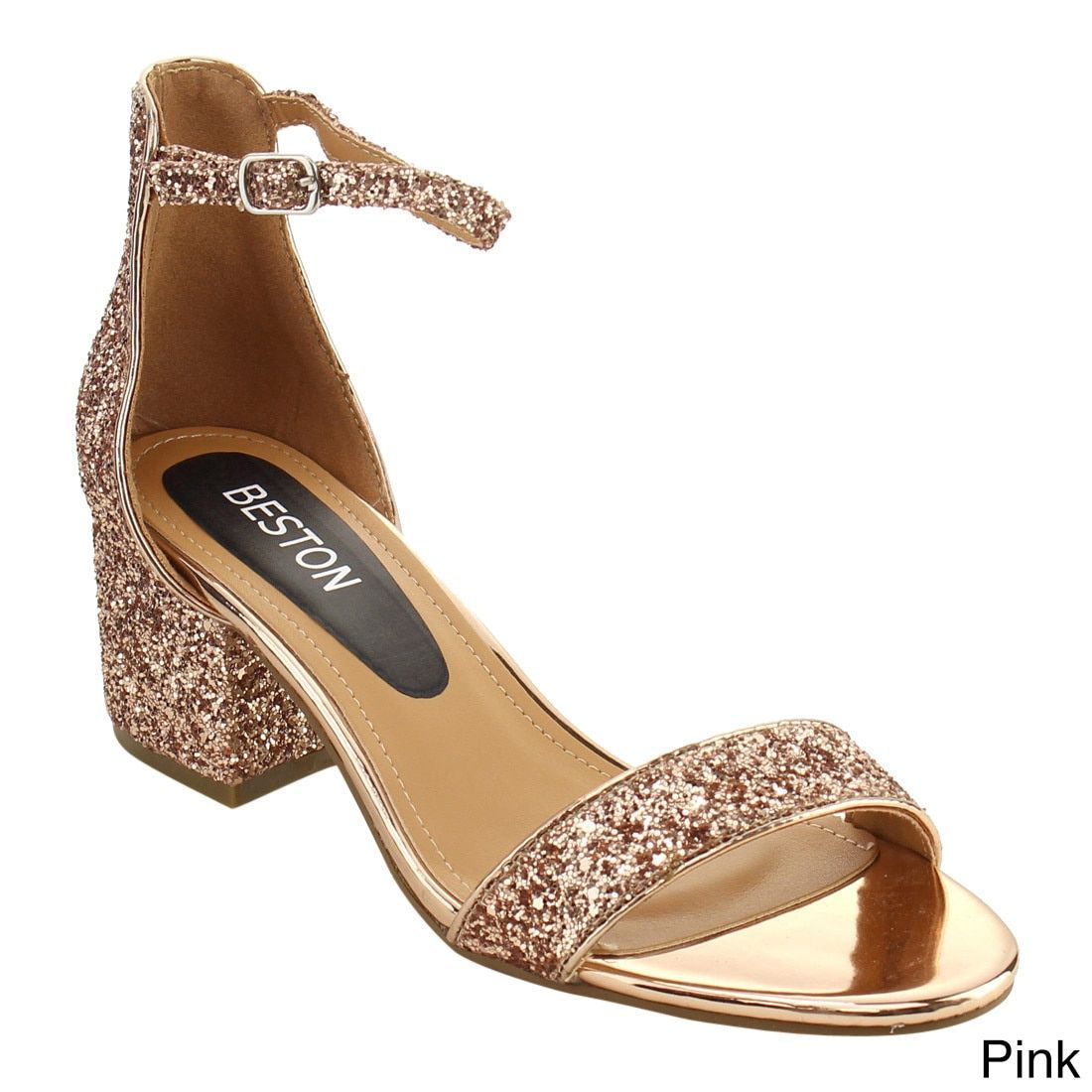 Gold dress shoes for wedding  Beston FH Womenus Single Band Ankle Strap Chunky Heel Dress