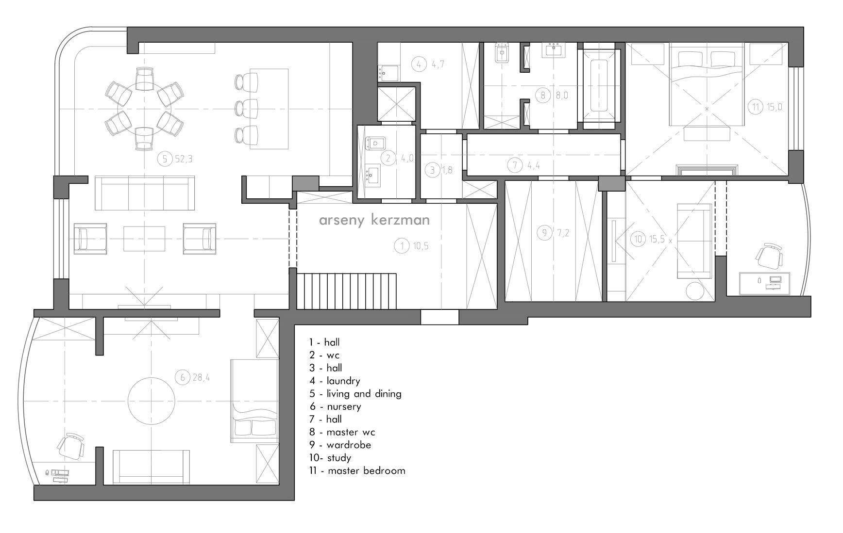 150 M2 Apartment Planning Arseny Kerzman 2015 #plan #plans #planning  #design #
