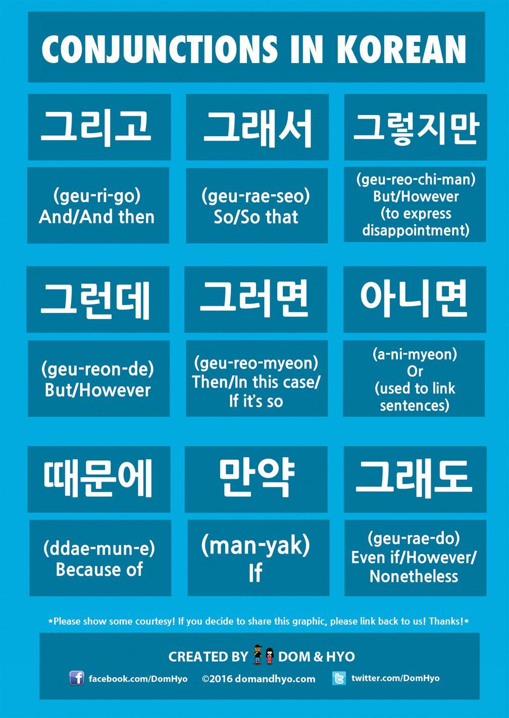 Conjunctions In Korean … Korean words, Learn korea