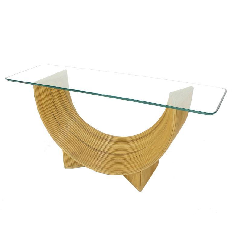 midcentury rattan u shape base glass top console sofa table rh pinterest com