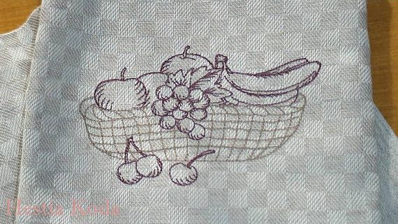 "Kitchen towel, embroidered 50x 90cm/ 19,5"" x 35,5"".  Measures wide 50 cm, long 90 cm - wide 19,5 inch long 35,5 inch  Fabric 55%linen and 45%cotton. Fabric natural linen grey with lilac or red stripes in the edge. Embroidered with viscose thread, both ends, various patterns. Size 18 x 13 cm.  Lovely vintage look."