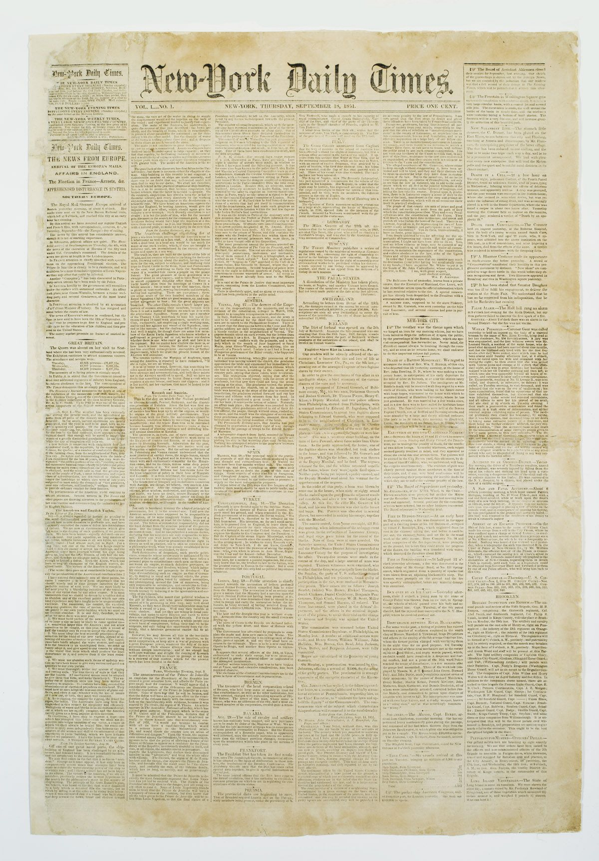 New-York Daily Times, Vol. 1, No.1, Thursday, September 18, 1851 ...