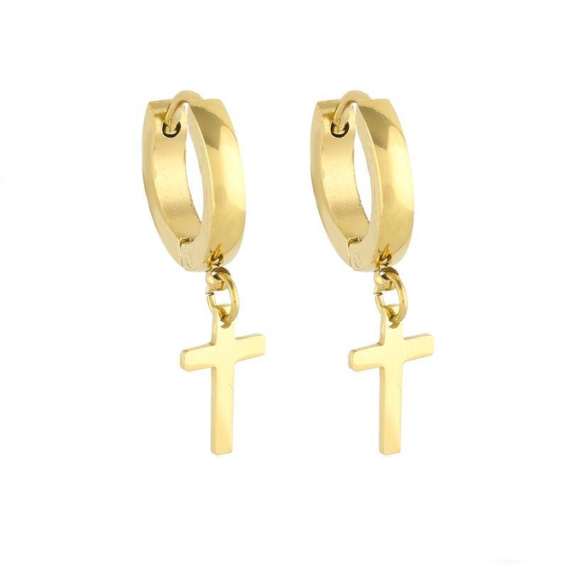 Dangle Leverback Earrings 14k White Gold Egyptian Ankh Cross Drop