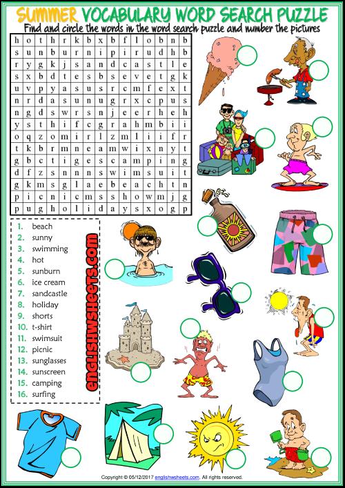 summer word search puzzle esl printable worksheet esl printable vocabulary worksheets and. Black Bedroom Furniture Sets. Home Design Ideas