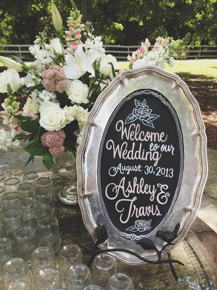 Hand Drawn Chalkboard Sign For Wedding Welcome Table
