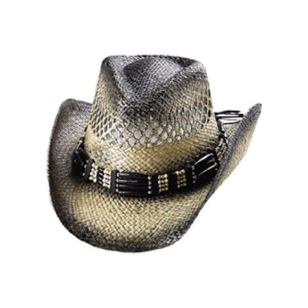 Mega Design Natural Black Beaded Western Cowboy Cowgirl Hat Country NWT -  Hats e73140d24e50