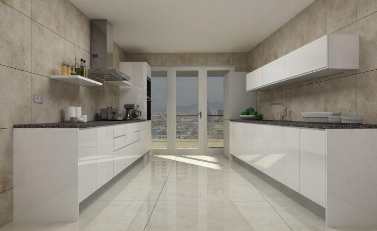 Modelo de cocina con puerta croacia blanco brillo for Modelo de cocina 2016