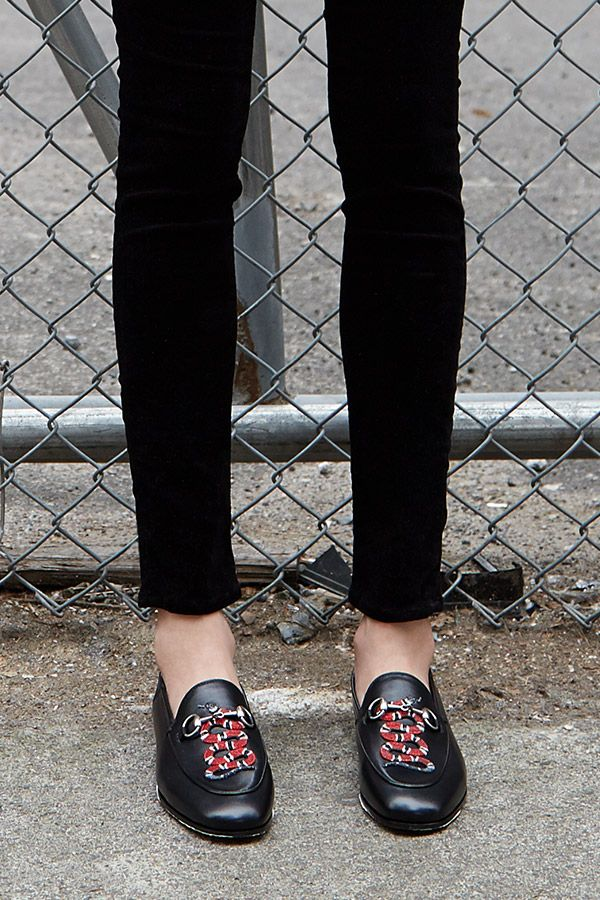 The timeless loafer goes high fashion in the hands of  Gucci. The Jordaan  Snake loafer now available at Saks.com.  10022Shoe c2c71311c95