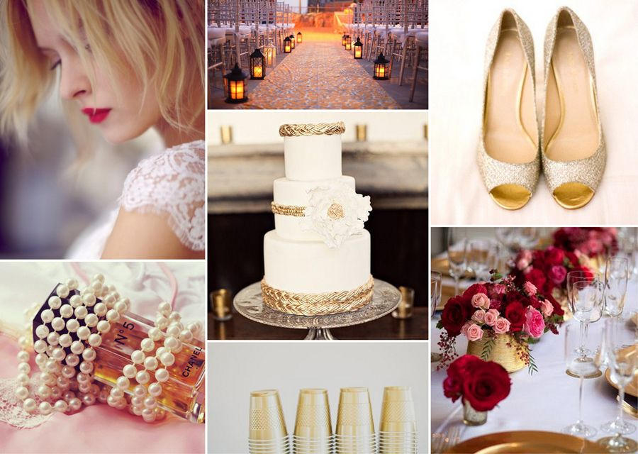 Hochzeitsdeko in Gold und Dunkelrot | Friedatheres