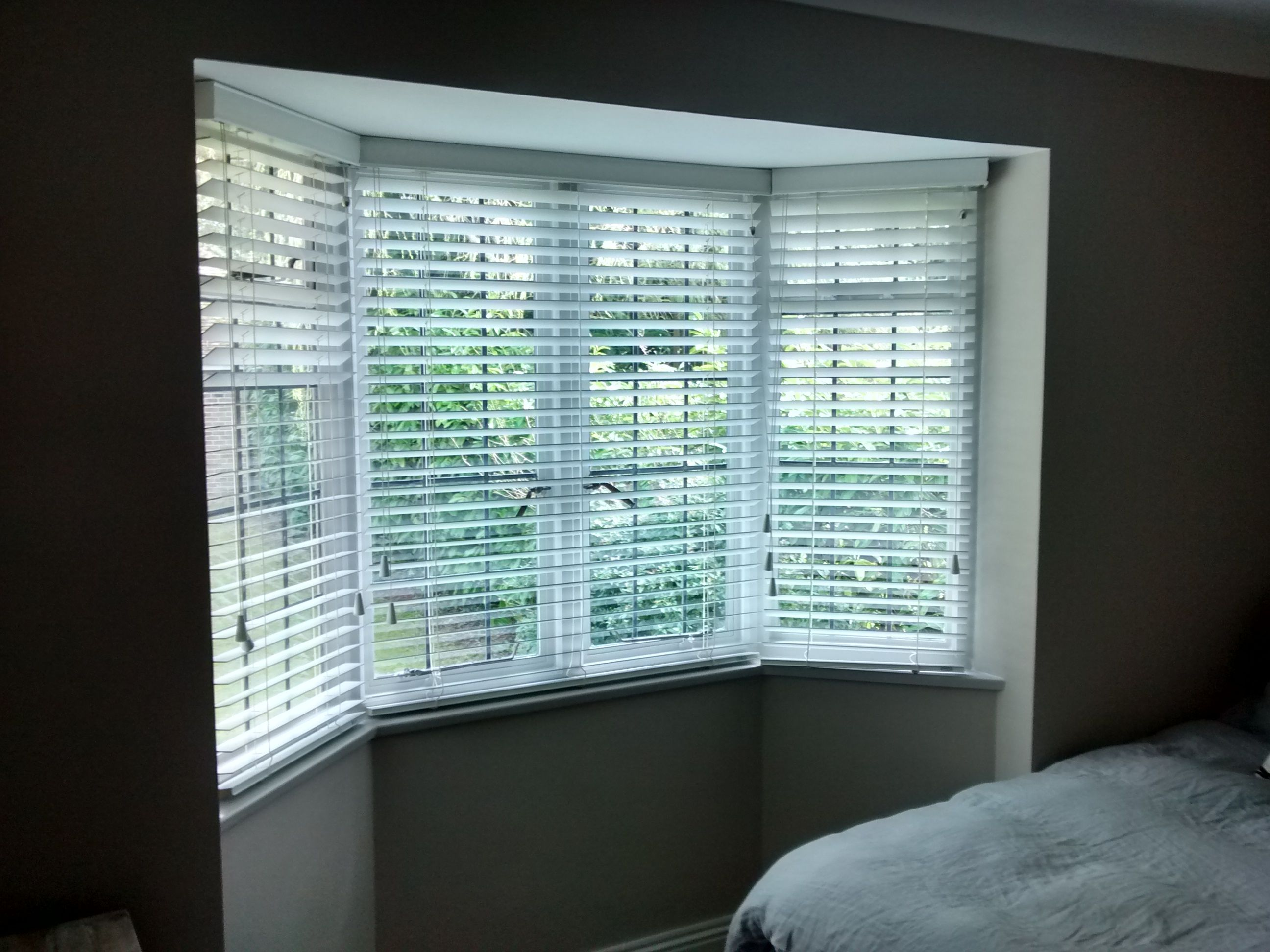 Bay window blinds - Wood Venetian Blinds Installed To A Bay Window In Haywards Heath Sussex Wood Venetians