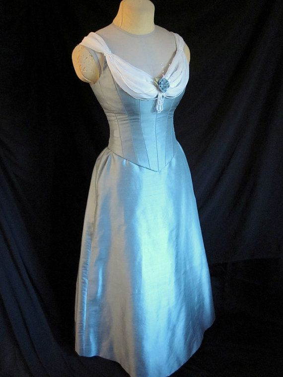 CLEARANCE Victorian Evening Gown Blue Silk Historical Ballgown Small ...