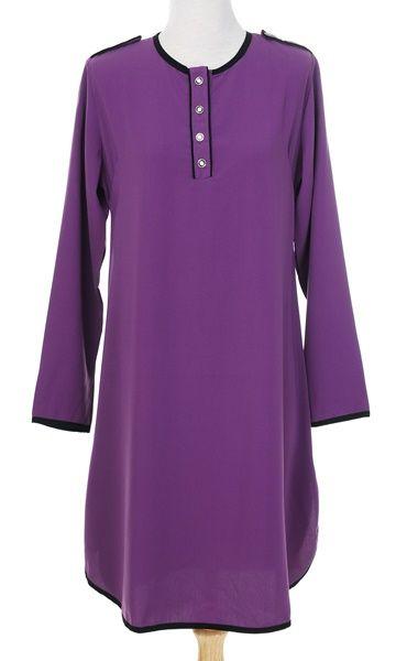 Aina02 Blouse Muslimah Labuh Lavender Purple  7b40b4a1d6