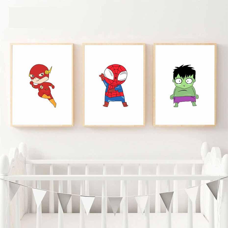 mignon super hero toile peinture de bande dessin e batman art print affiche mur photos pour. Black Bedroom Furniture Sets. Home Design Ideas
