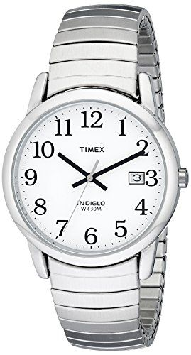timex men s t2h451 easy reader silver tone expansion band watch timex men s t2h451 easy reader silver tone expansion band watch timex